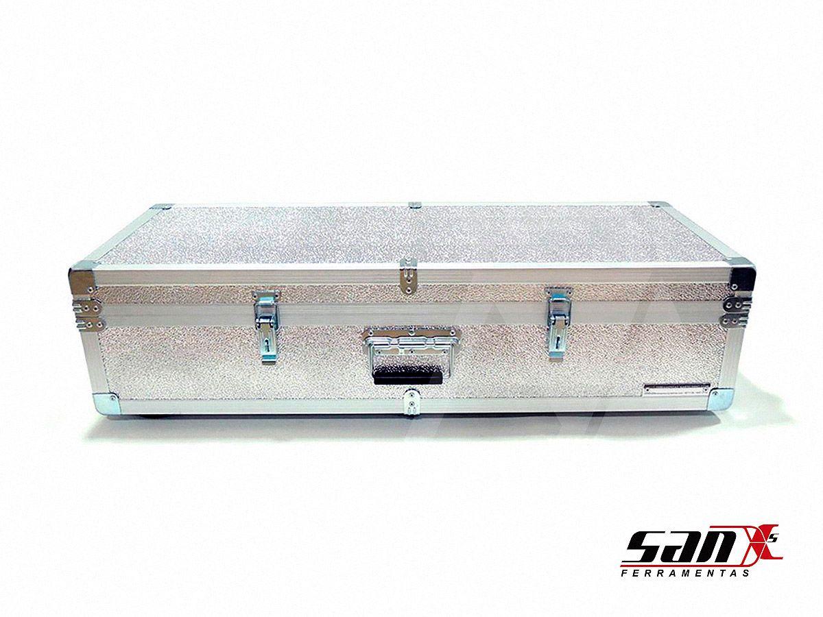 Case de alumínio 90x35x18 cm | Rodízio, trava cadeado + alça para transporte