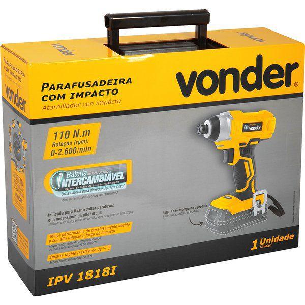 Parafusadeira com impacto 1/4', bateria intercambiável de 18 V, sem bateria e sem carregador, VONDER