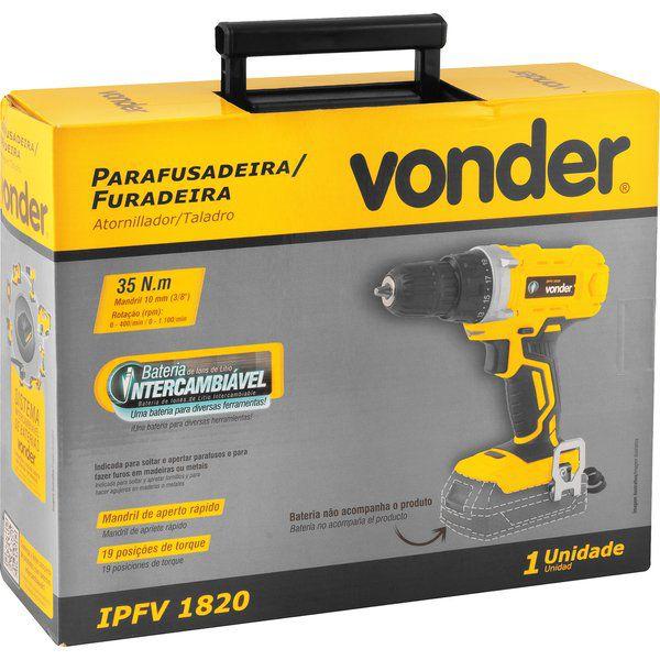 Parafusadeira furadeira 3/8', bateria intercambiável de 18 V, sem bateria e sem carregador, VONDER