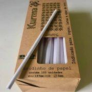 Canudo Papel Kurma (5x19,6cm) Branco C/ 100un Biodegradável