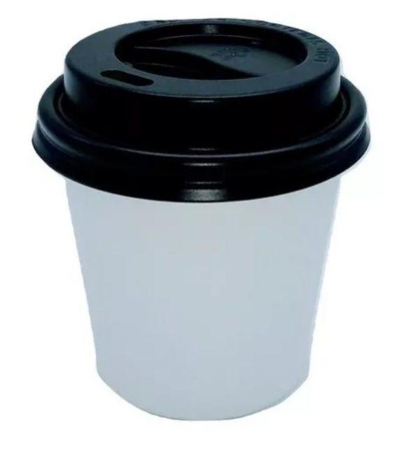 COPO DE PAPEL DE CAFÉ 120ml EM PAPEL BRANCO LISO COM TAPA BICO 200 UND