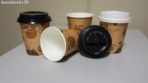 COPO DE PAPEL DE CAFÉ 120ml EM PAPEL PERSONALIZADO C/TAPA BICO 100 UND