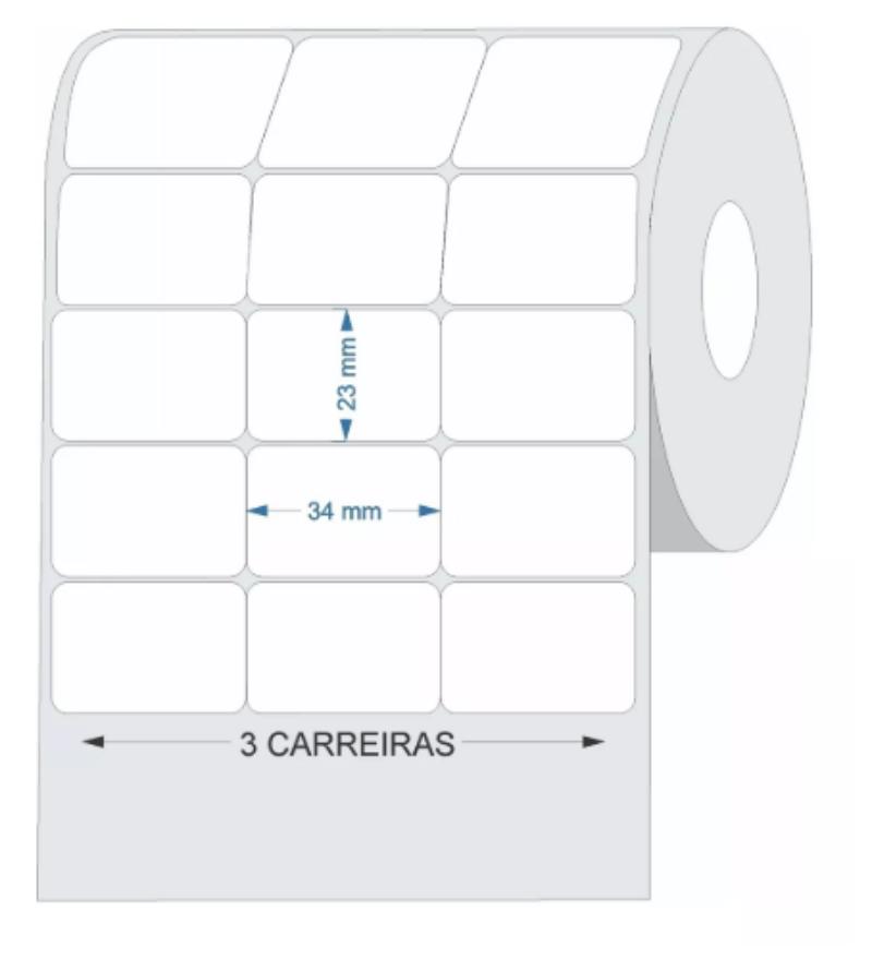ETIQUETA ADESIVA COUCHE BRANCA 3 CARREIRAS 34X23