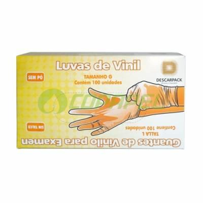 LUVA DE VINIL SEM PÓ DESCARTÁVEL PARA PROCEDIMENTOS - CX C/ 100 UN - DESCARPACK