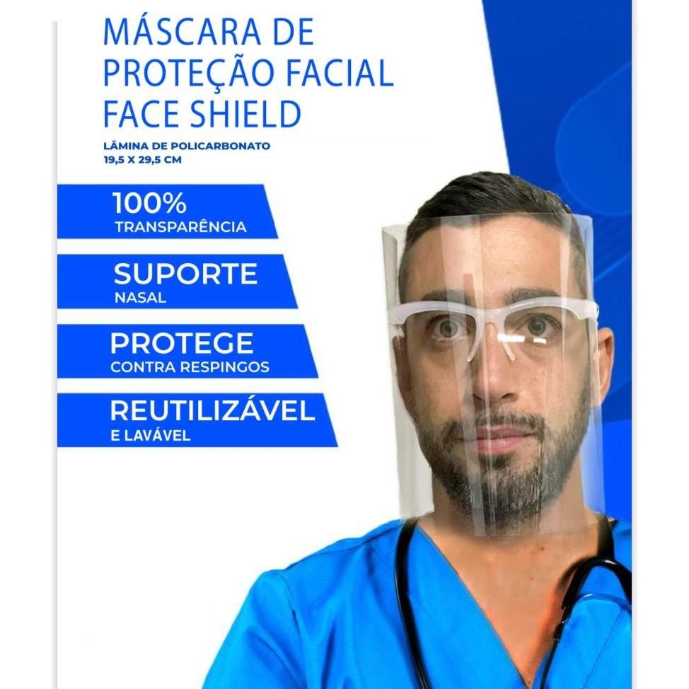 MASCARA DE PROTEÇÃO CONTRA GOTÍCULAS COM ÓCULOS EMBUTIDO FACE SHIELD