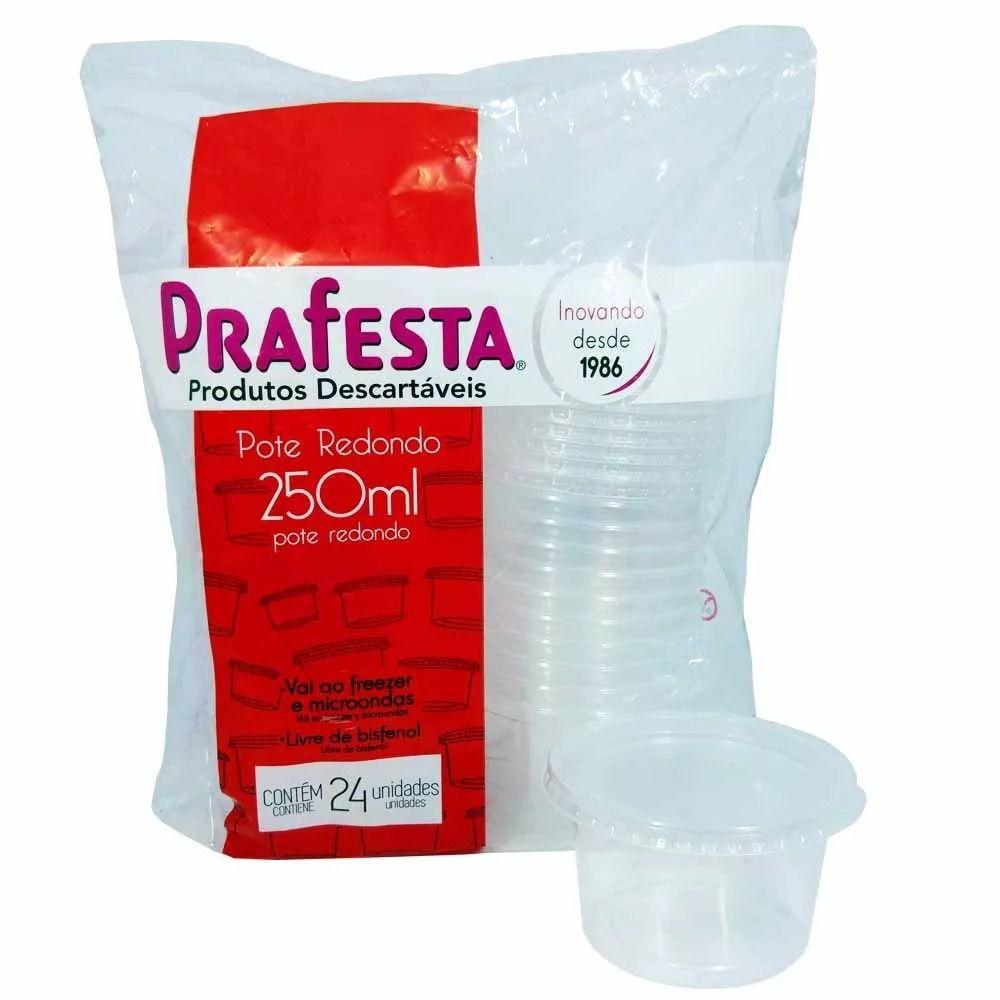 POTE REDONDO COM TAMPA 250ml PRAFESTA 24 UND