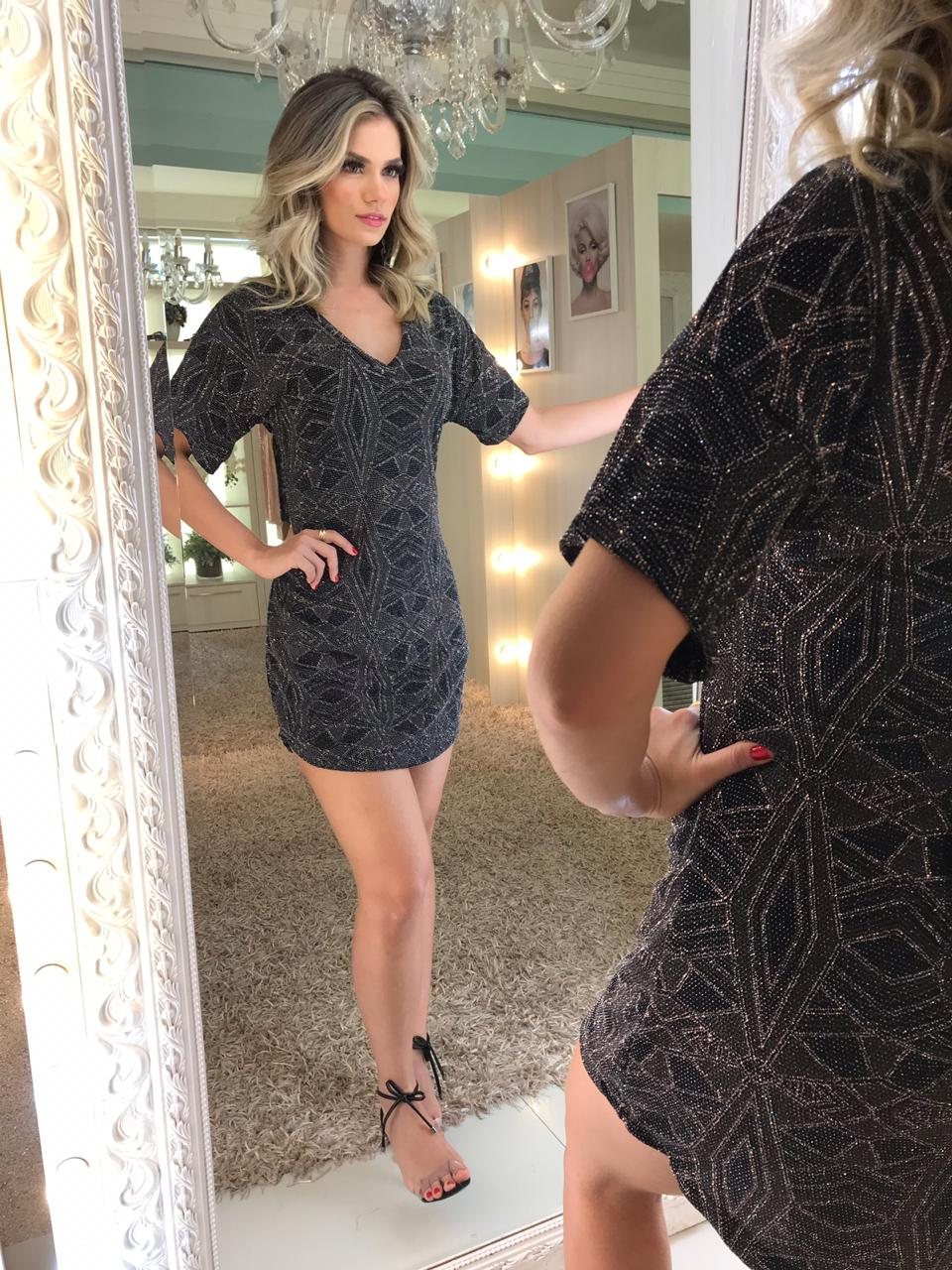 Vestido Chemise Lurex
