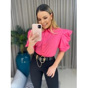 Blusa tricoline rosa manga
