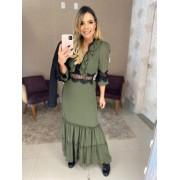 Vestido verde militar com renda