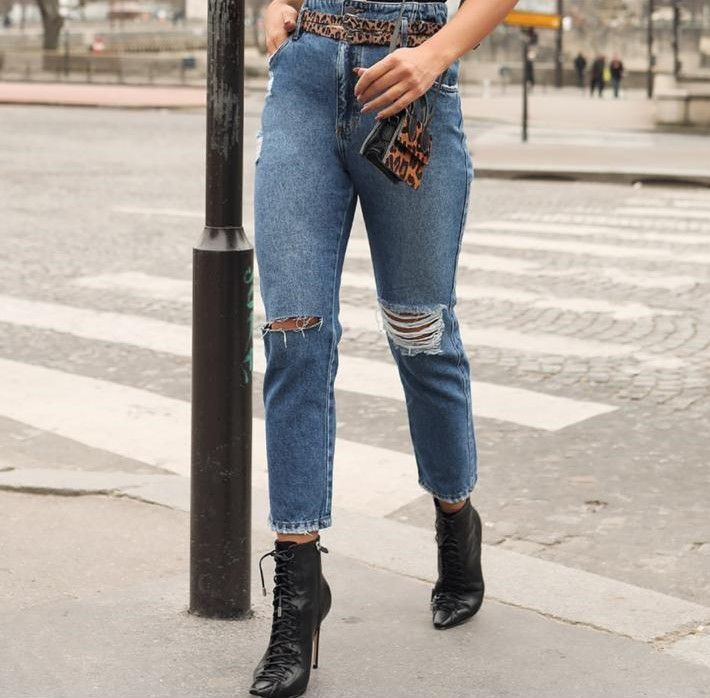 Clochard Jeans com Cinto Animal Print