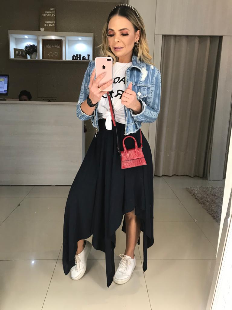 Jaqueta jeans estampa laser