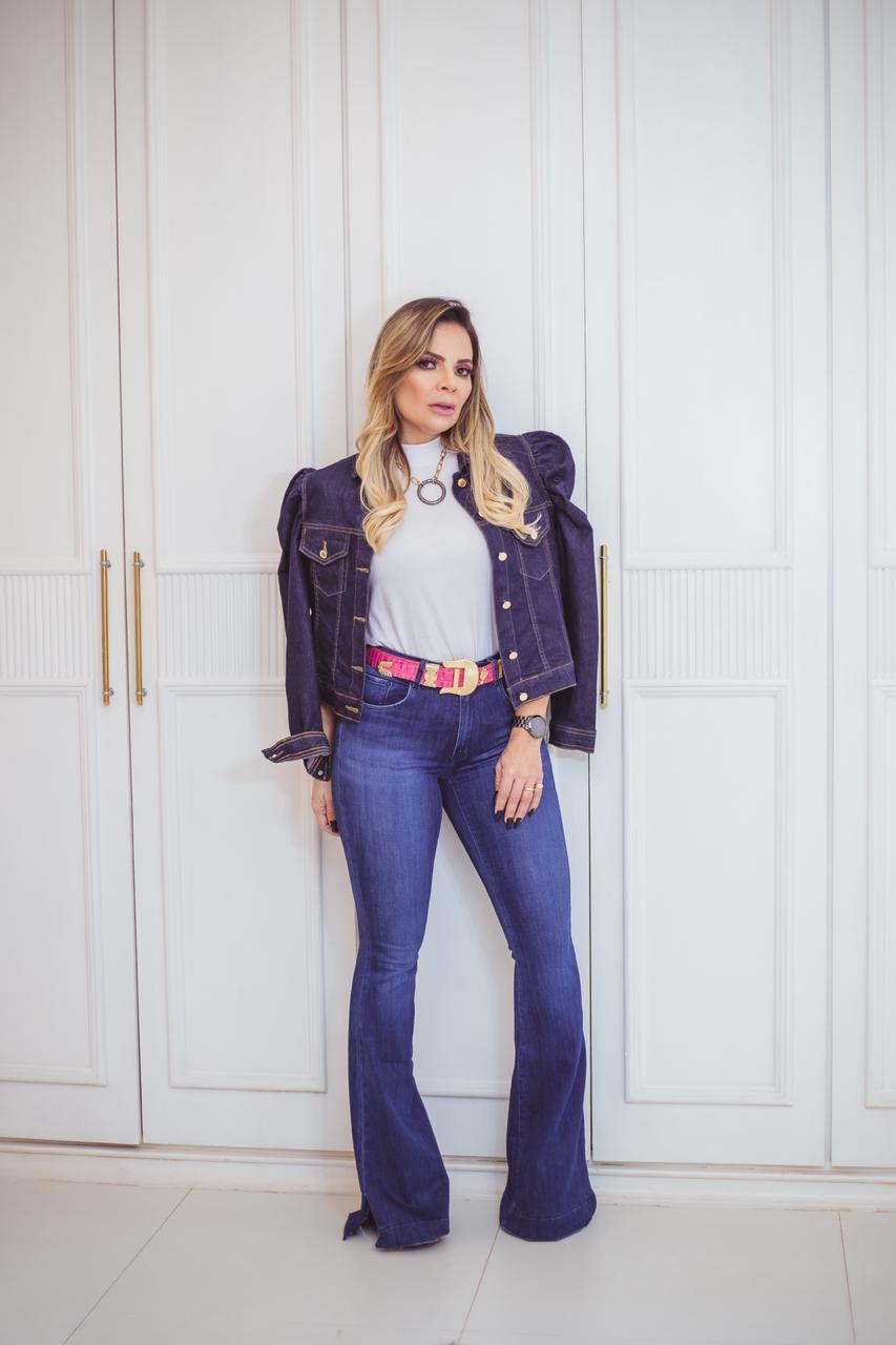 Jaqueta jeans manga princesa