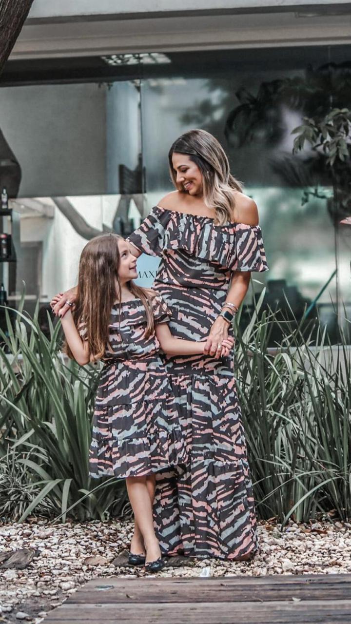Vestido mãe est. zebra