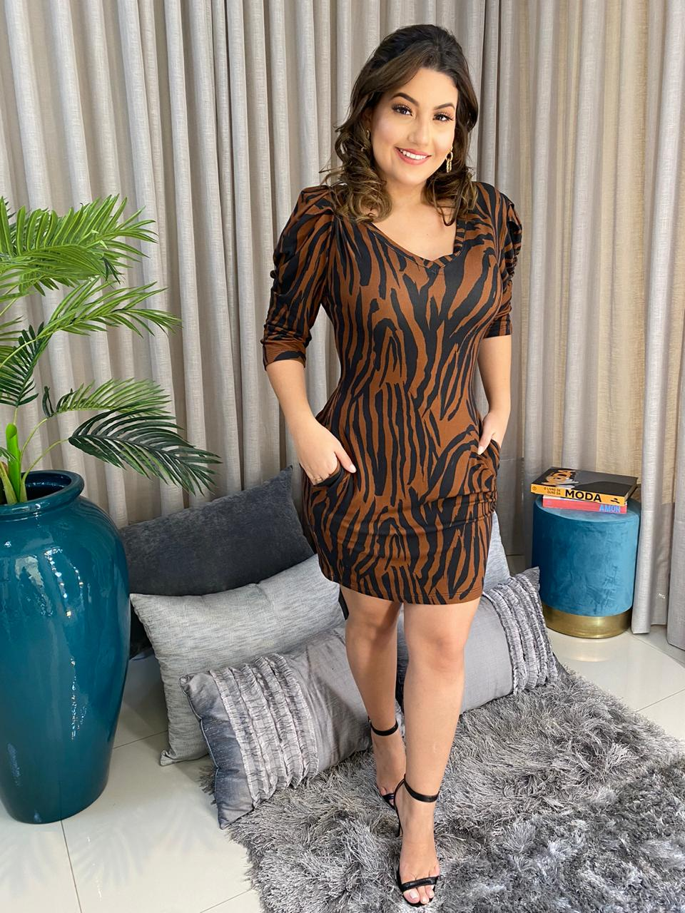 Vestido malha zebra