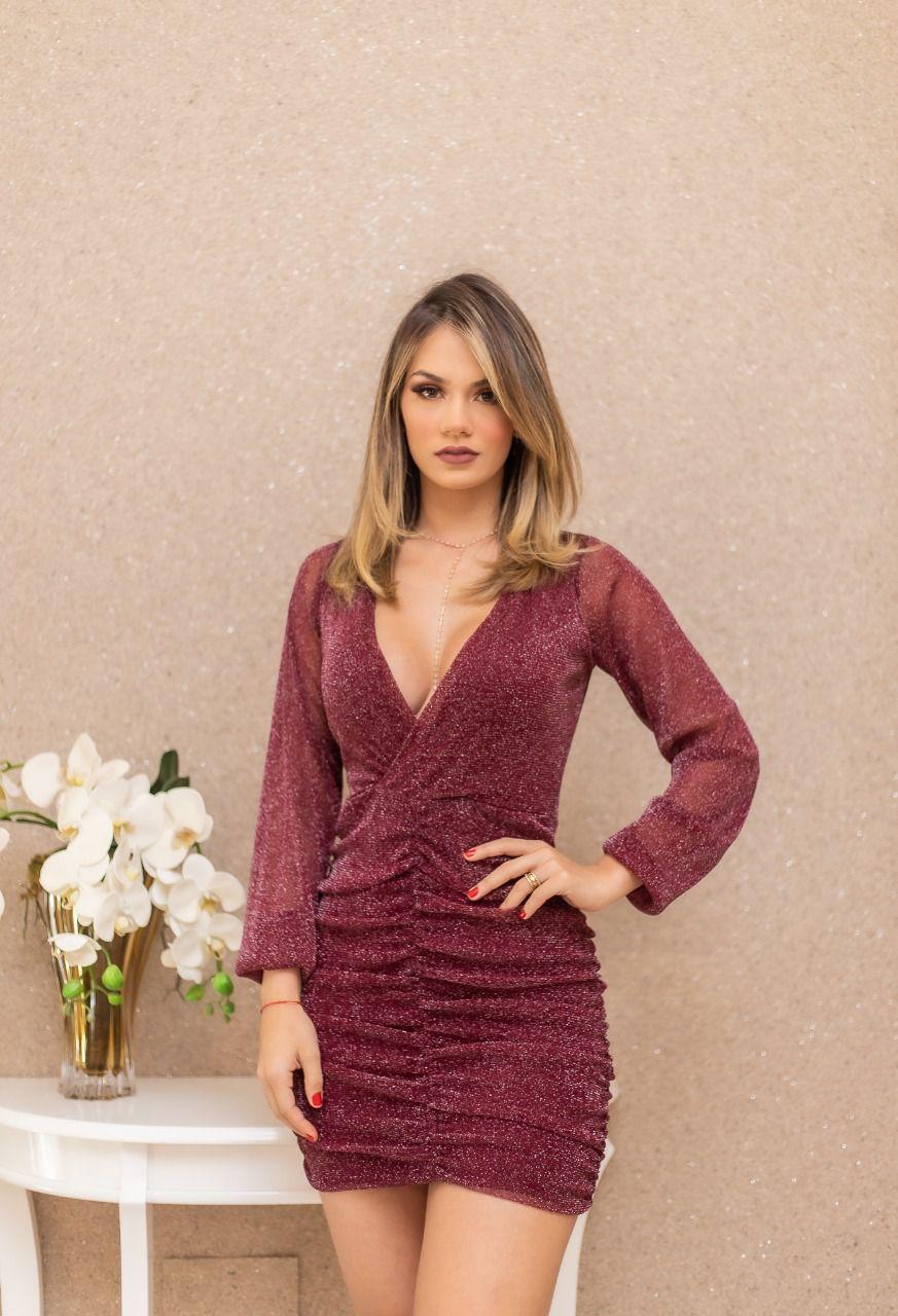 Vestido Nicole Marsala