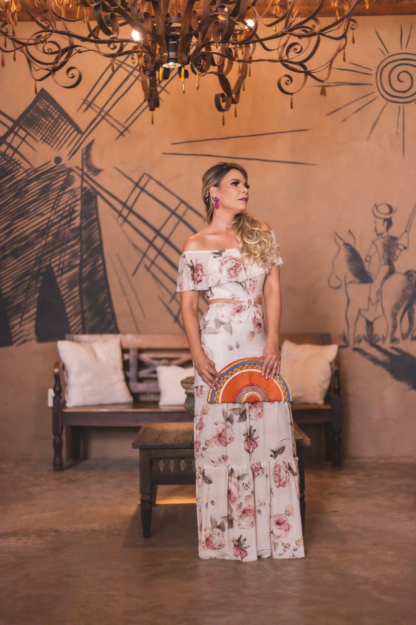 Vestido Rosas com argola P