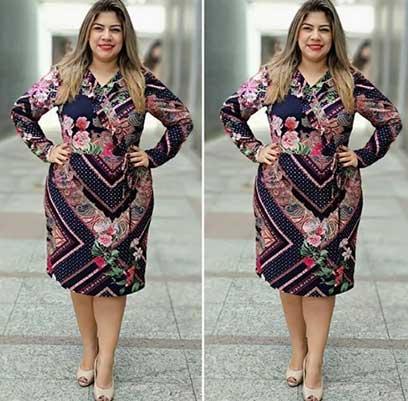 Vestido Estampado Gola Babado