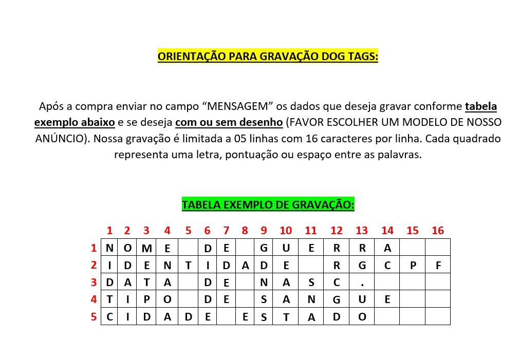 DOG TAGS -  GRAVAÇÃO DE DADOS + DESENHOS VÁRIOS MODELOS
