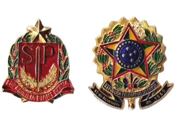 KIT PIN 25MM - BRASÃO REPUBLICA FED. BRASIL + BRASÃO DE SÃO PAULO