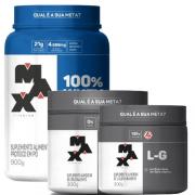 Combo 100% whey 900g + creatina + glutamina 300g max titanum