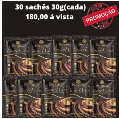 CACAO WHEY SACHÊS 30 UNIDADEs (30g) Whey Protein Hidrolisado e Isolado com Cacau Gourmet