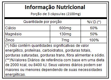 Calcium Magnesium  Zinc 120 capsulas
