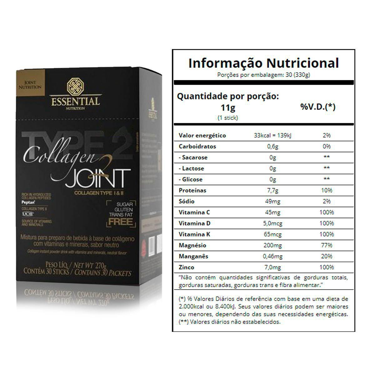 Collagen 2 JOINT NEUTRO 270g - Box c/ 30 unidades de 9g Essential nutrition