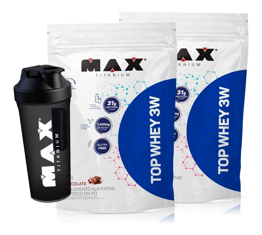 COMBO: 2 X TOP WHEY 3W MAIS PERFORMANCE - 1,8 KG -MAX TITANIUM
