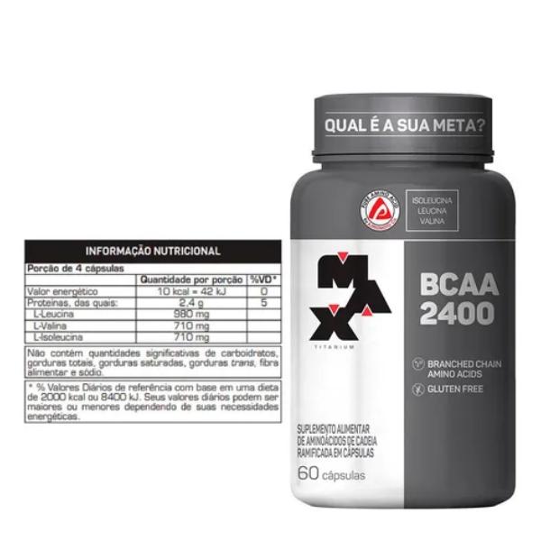 Combo:5 bcaa max titanium 100 capsulas