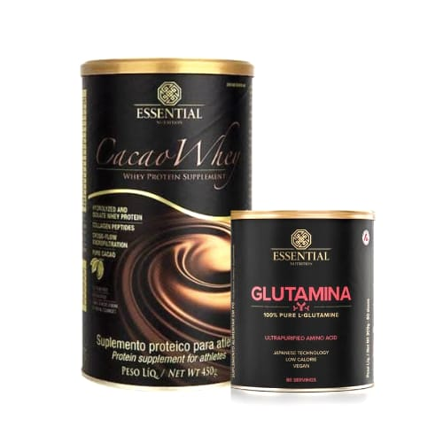 Combo Cacao whey 450g+ Glutamina 300g Essential nutrition