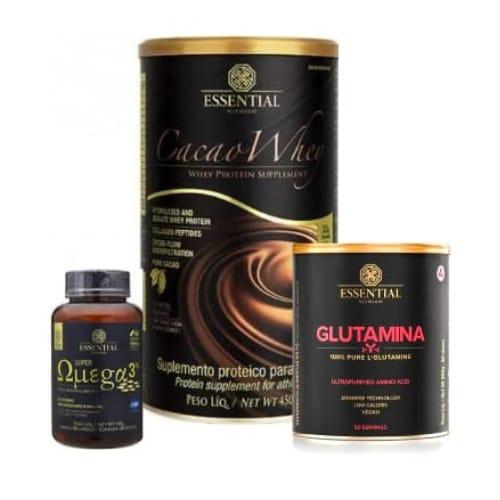 Combo essential Cacao whey 450G + ômega 3, 180 cápsulas + glutamina 300G