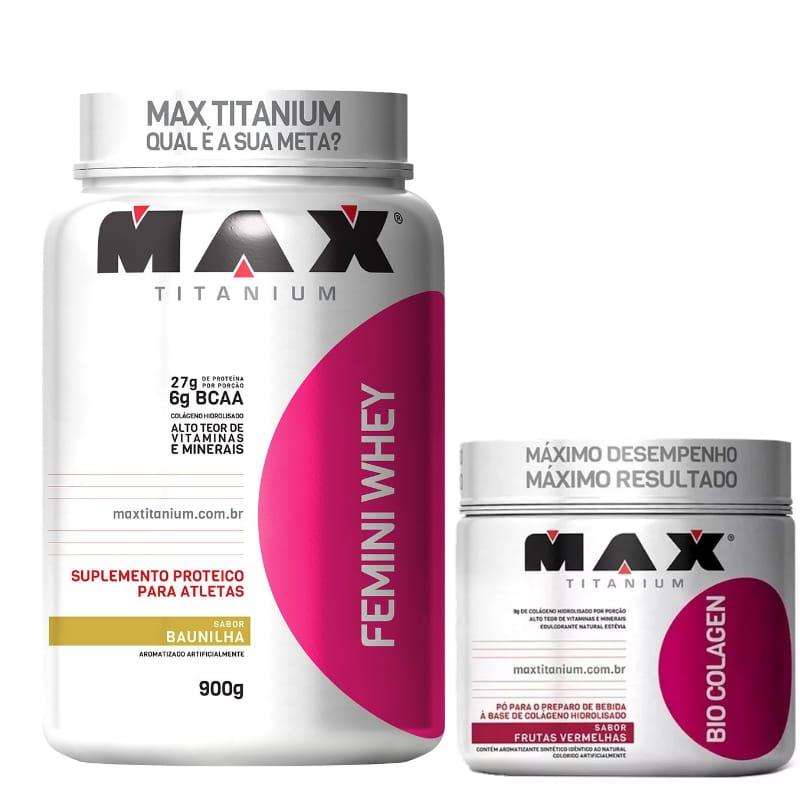 Combo:Femini  whey 900g +colagen 150g hidrolisado -max Titanium