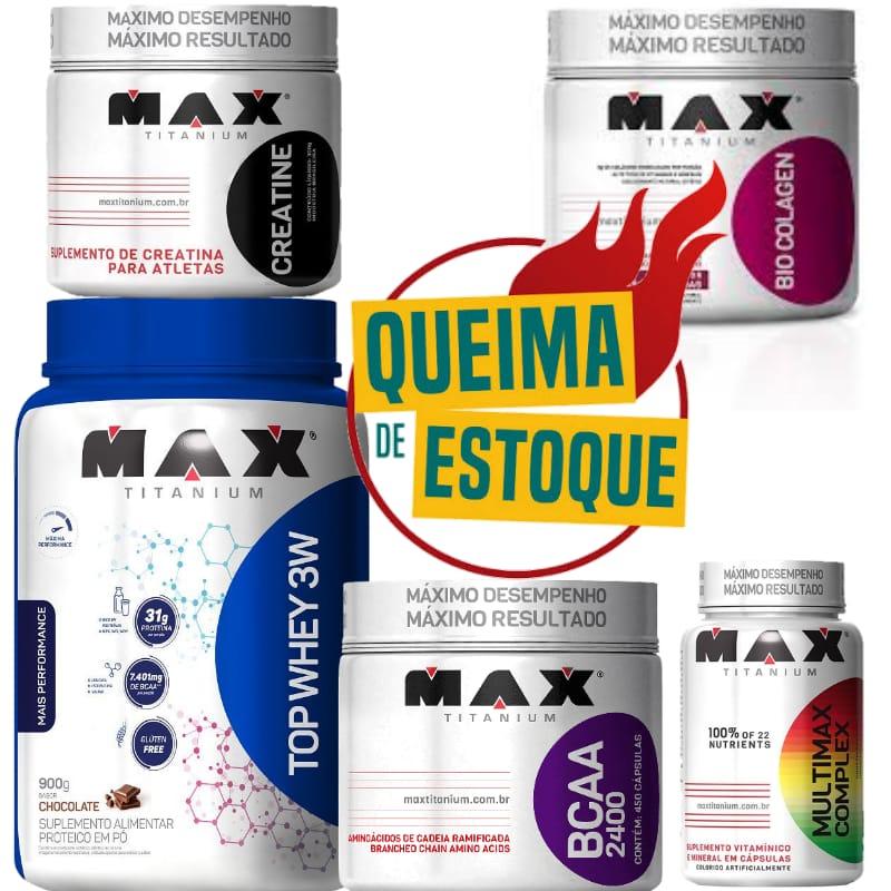 Combo top whey 900g+ creatina 300g + colágeno 150g+ bcaa 450 cápsulas + polivitaminico Max