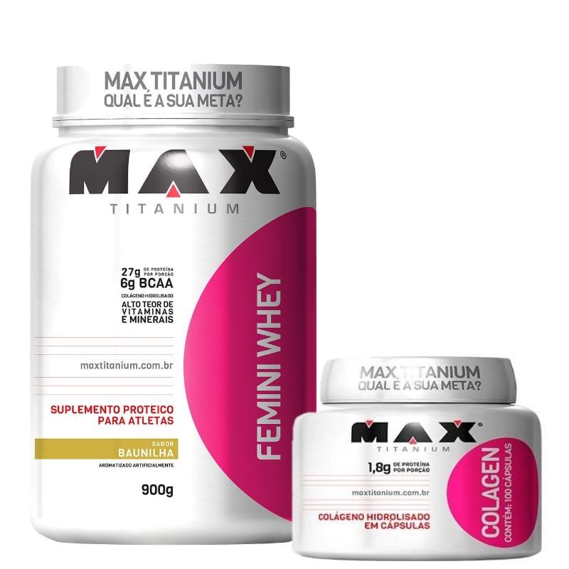 FEMINI WHEY 900G +COLAGEN 100 CAPS - MAX TITANIUM