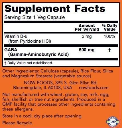 Gaba 500mg -100 capsulas Now Foods