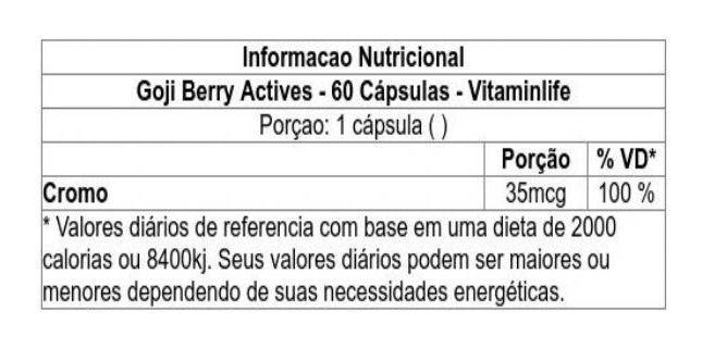 Goji Berry Actives Goji Berry com Cromo em  60 cápsulas Vitaminlife