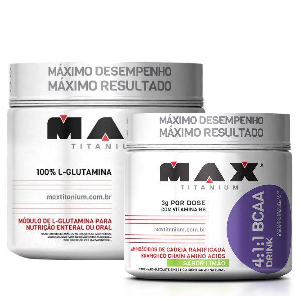 L-G Glutamina 300g + BCAA 4:1:1 Drink 280g - Max Titanium