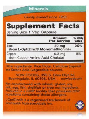 L-Optizinc 30mg 100 Caps - Now Foods