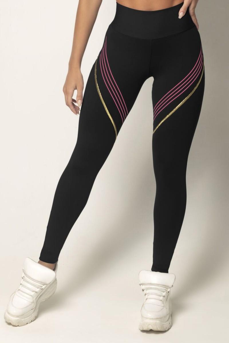 Legging Vict Fitness Preta com Dourado