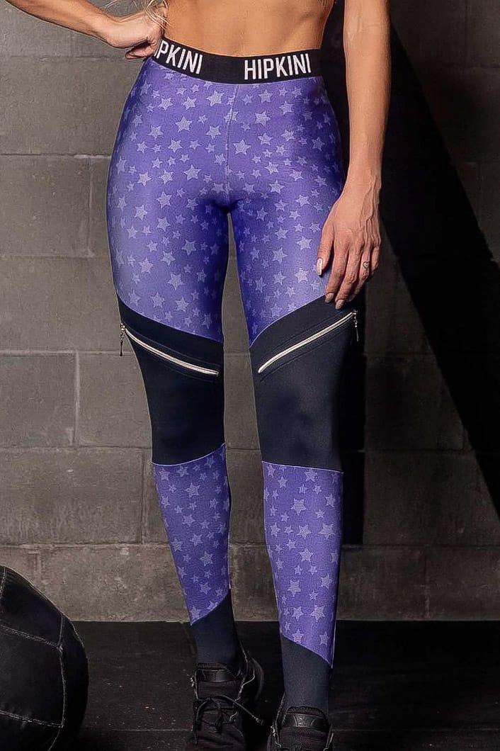 Legging Wu Fitness Roxa com Estrelas e Recorte