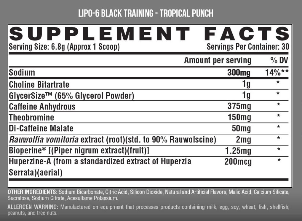 Lipo 6 black Training 30 doses Nutrex research