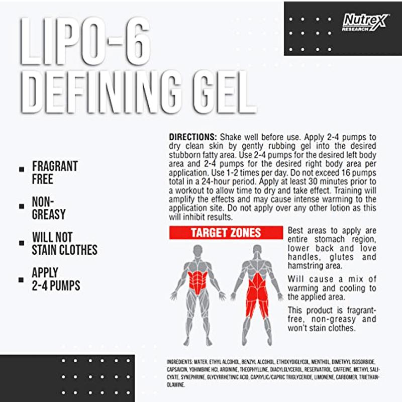 Lipo 6 defining gel + cinta Nutrex  grátis