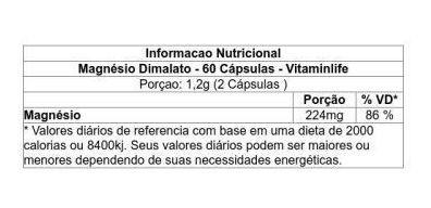 Magnésio Dimalato 60 cápsulas Vitaminlife