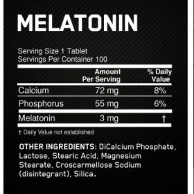Melatonina ON 3mg 100 caps Optimum nutrition