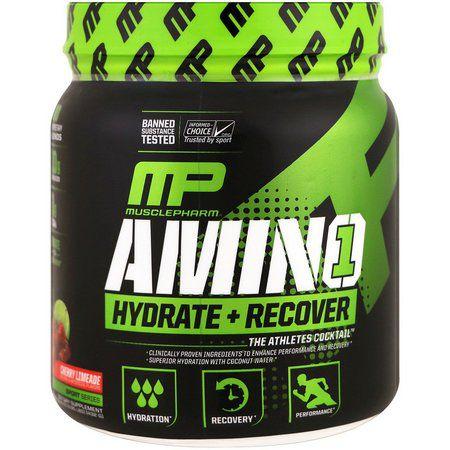 MusclePharm, Amino 1, Hidratação + Recuperação, Limonada Lima Cereja, 15,24 onças (432 g)