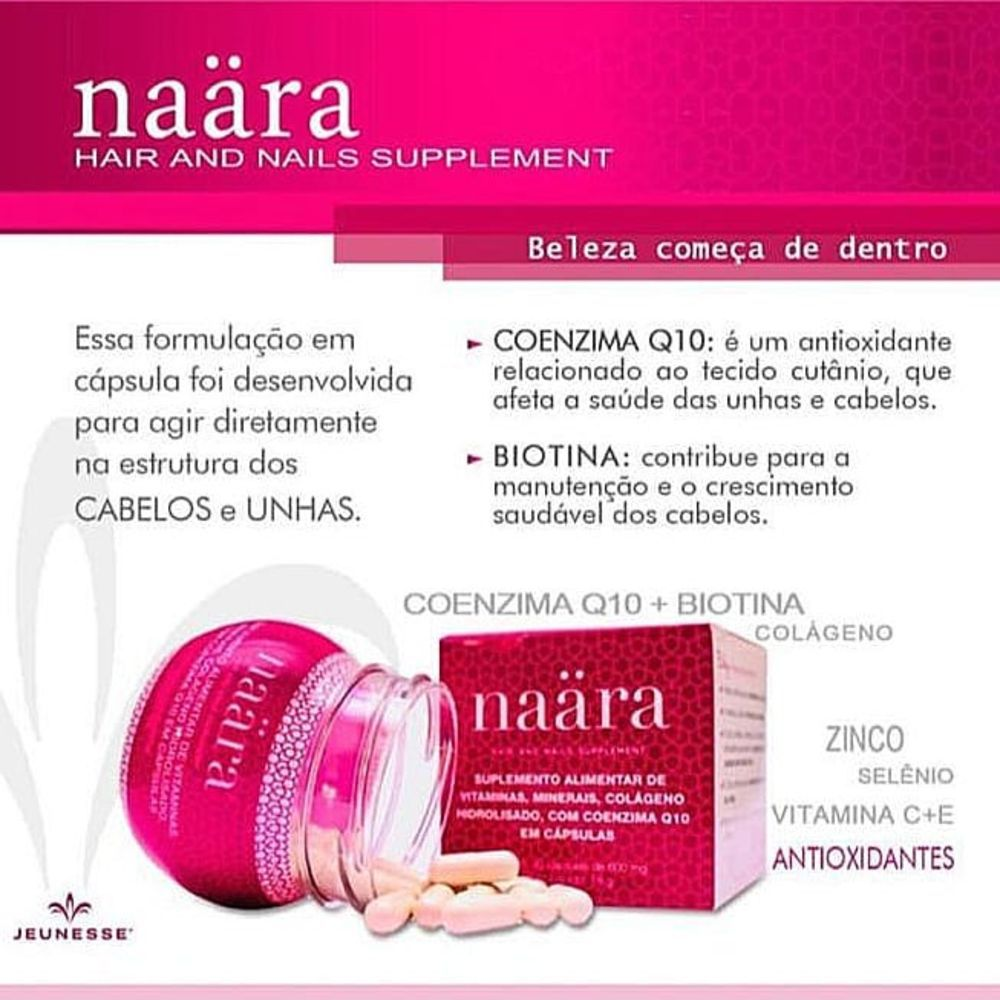 Naara Colágeno- Cápsulas Hair And Nails - Com Q-10 E Biotina