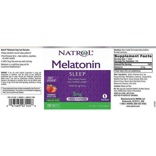Natrol, Melatonina, Liberação Prolongada, Força Extra, 5 mg, 90 tablets