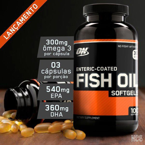 Ômega 3 Óleo De Peixe 300mg Fish Oil Optimum Nutrition 100 Cápsulas