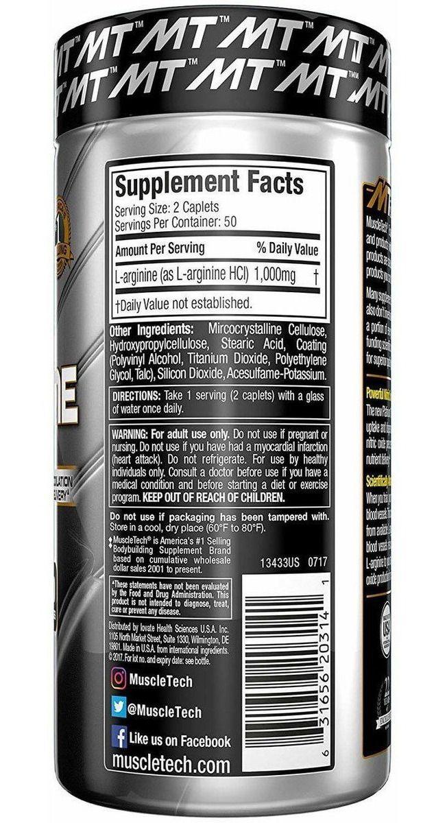 PLATINUM 100% L-ARGININE (100CAPS) MUSCLETECH