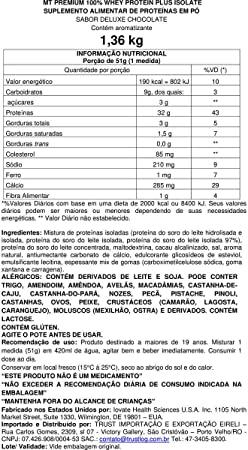 Premium 100% Whey Protein Plus Isolate  stevia 3lbs (1,36 kg) – Chocolate